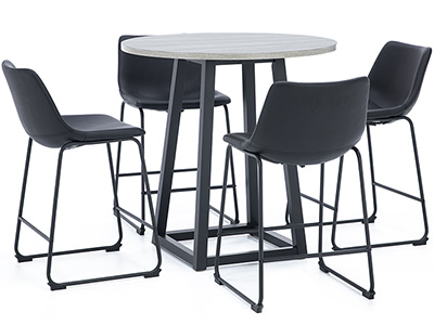 Leigh 5-pc. Counter Height Dining Set with Black Upholstered Stool
