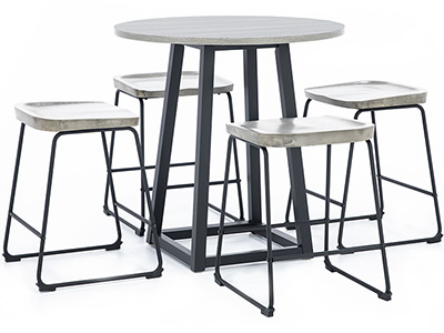 Leigh 5-pc. Counter Height Dining Set with Gray Backless Stool