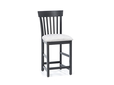 Venice Slatback Upholstered Counter Stool- Onyx