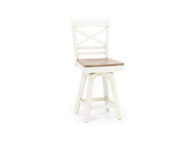 "Antique White 24"" X-Back Stool"