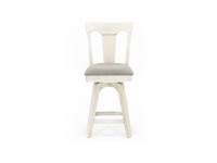 "Antique White 24"" Panel Back Stool"