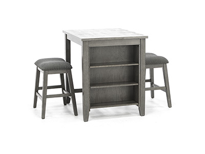 Casey Grey 3-pc. Counter Island Set