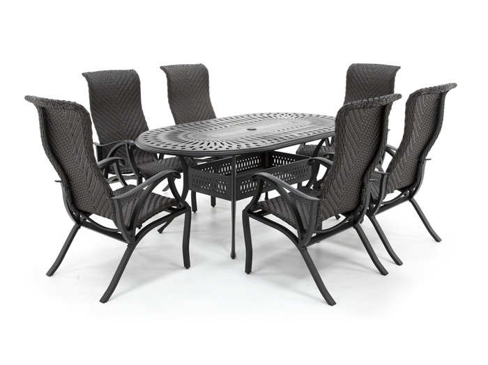 San Tropez 7 PC Dining Patio Set with 6 Dining Chairs