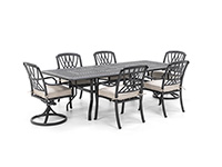 Classic 7 PC Dining Set with 4 Dining and 2 Swivel Dover Chairs