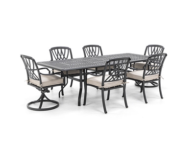 7 PC Classic Dining Set with 4 Dining and 2 Swivel Dover Chairs
