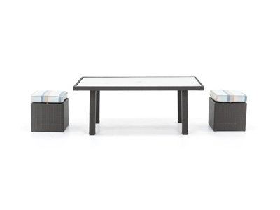 Cabo 3-Pc. Conversation Table wit Glass Top and 2 Cube Ottomans