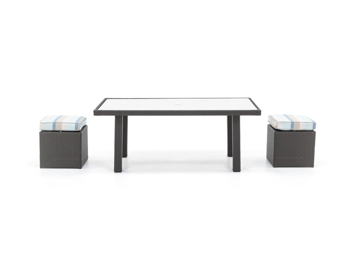 Cabo 3PC Conversation Table wit Glass Top and 2 Cube Ottomans