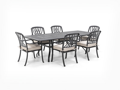 7 PC Classic Dining Set with 6 Dining chairs