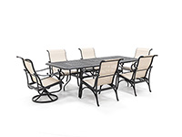 Classic 7PC Dining Set with 4 Dining and 2 Swivel Santa Barbara  Chairs