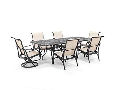 7 PC Classic Dining Set with 4 Dining and 2 Swivel Santa Barbara  Chairs