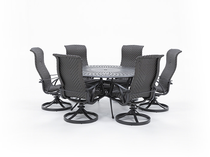 San Tropez 7 PC Dining Set with 6 Swivel Chairs
