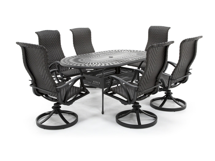 San Tropez 7PC Dining Set with 6 Swivel Chairs