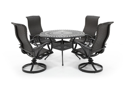 San Tropez 5 PC Dining Set with 4 Swivel Chairs