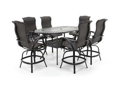 San Tropez 7PC Counter Height Balcony Dining Set with 6 Swivel Chairs
