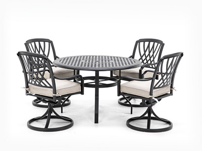 5 PC Classic Dining Set with 4 Swivel Chairs