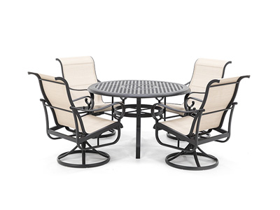 5-Pc. Classic Dining Set with 4 Santa Barbara Swivel Sling Chairs