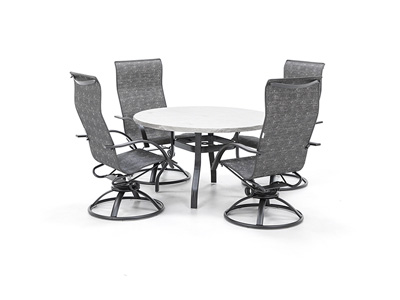 Valero table with Stella Swivel Sling Chairs