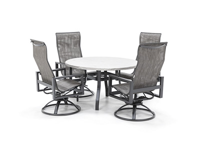 Valero Table with Sutton Swivel Sling chairs