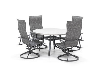 Valero Table with Kashton Swivel Sling Chairs