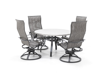 Valero Table with Emory Swivel Sling Chairs