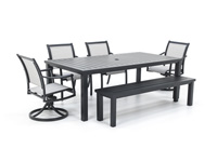 Sherwood 6PC Dining Set with 2 Swivel Chairs 2 Dining Chairs and Bench