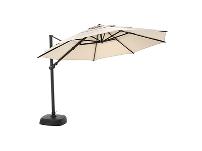 2 PC Canvas Antique Beige Cantilever Umbrella Black Frame and Base