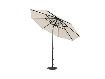 2 PC 9 Ft Auto Tilt Umbrella in Cast Ash with Black Pole and Base