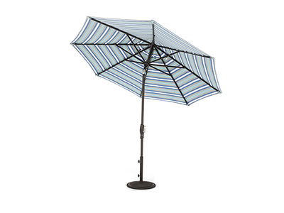 2 PC 9 Ft Auto Tilt Umbrella in Paddock Aqua Stripe with Bronze Pole and Base