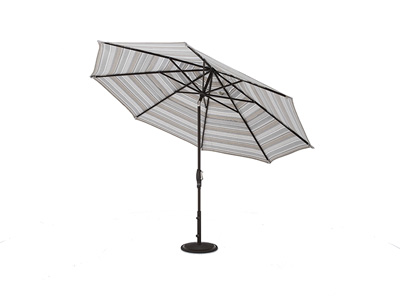 2 PC 11 Ft Auto Tilt Umbrella in Trusted Fog with Bronze Frame and Base