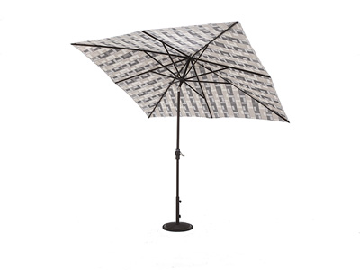 2 PC Auto Tilt Umbrella in Mosaic Tile with bronze frame and base