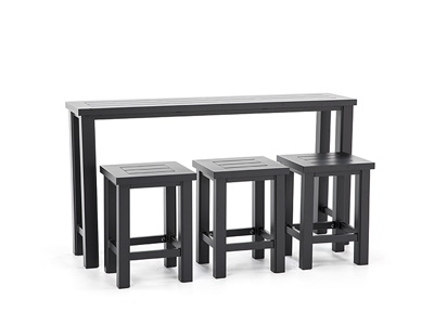 SHERWOOD 4 PC CONSOLE TABLE WITH 3 BACKLESS STOOLS