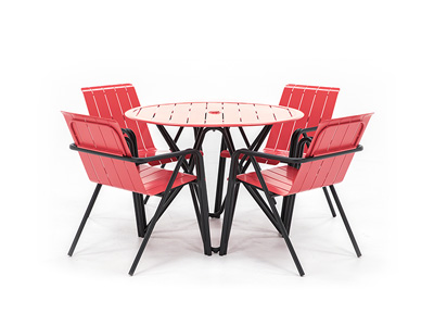 Impressions 5 PC Red and Black Dining Set