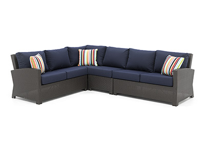 Cabo 4PC Sectional with Navy Cushions