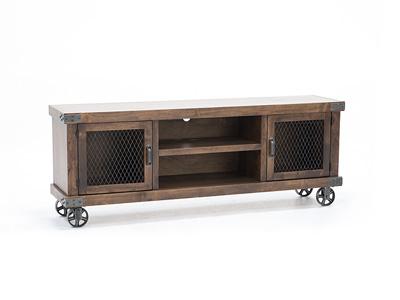 "Industrial Fruitwood 74"" Entertainment Console"
