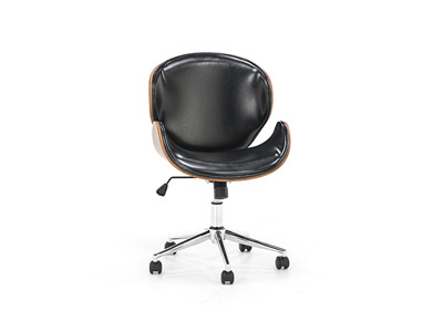 Nuhaus Walnut Wood Swivel Black Leather