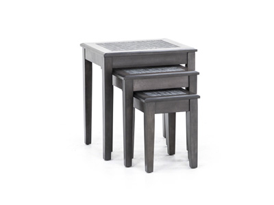 Grey Mosaic Set of Three Nesting Tables