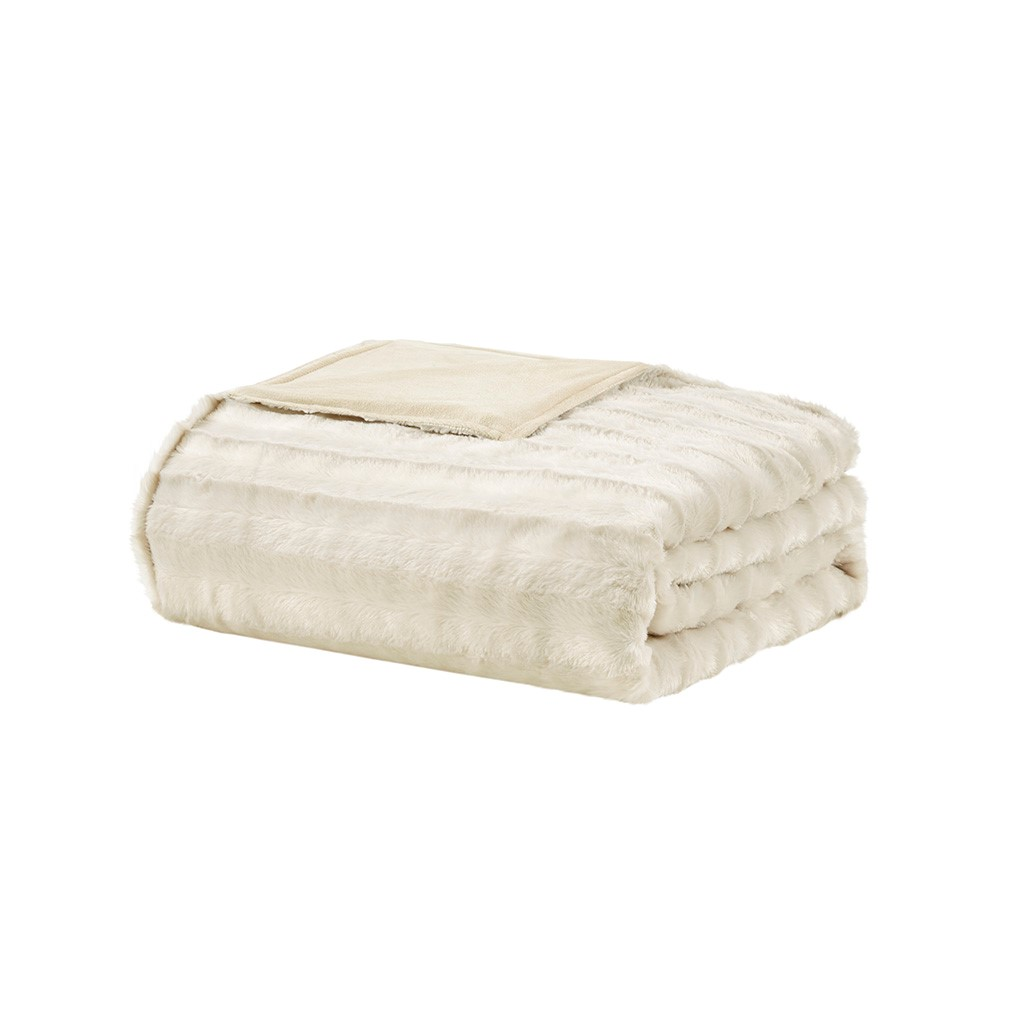 Beautyrest Ivory Faux Fur Weighted Blanket